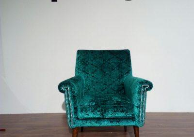Retapizados Medina del Campo - Sillón azul verdoso